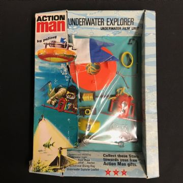 VINTAGE ACTION MAN - UNDERWATER EXPLORER FILM UNIT - CARDED with Red camera case